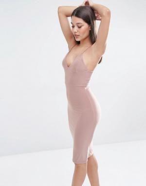 Club L Платье-миди с бретельками. Цвет: розовый