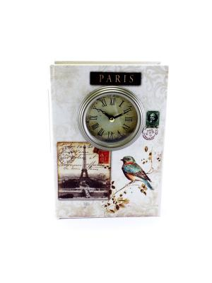 Шкатулка-фолиант с часами Paris essentic. Цвет: бежевый