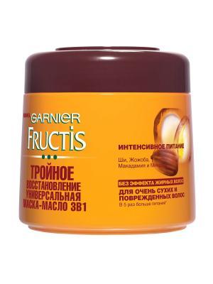 Fructis Масло-Маска 3 в 1 Тройное Восстановление, для очень сухих и поврежденных волос, 300 мл Garnier. Цвет: желтый