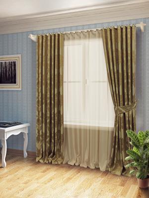 Комплект штор с тюлем SANPA HOME COLLECTION. Цвет: золотистый, темно-бежевый