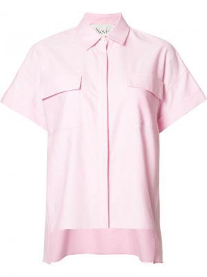 Блузка с косым воротником Novis. Цвет: розовый и фиолетовый