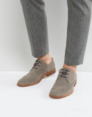 Zign Замшевые перфорированные туфли на шнуровке. Цвет: серый