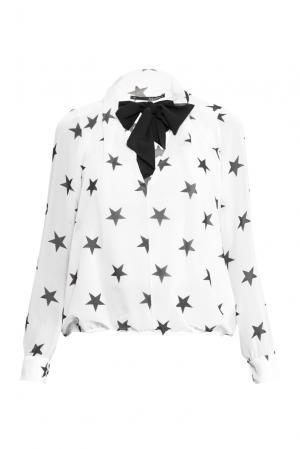 Блуза из искусственного шелка с бантом 156914 Anna Rita N. Цвет: монохром