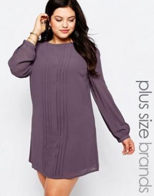 Koko Цельнокройное платье со складками Plus. Цвет: фиолетовый