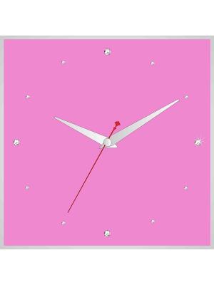 Часы в алюминиевой рамке со стразами 400*400мм ДСТ. Цвет: розовый