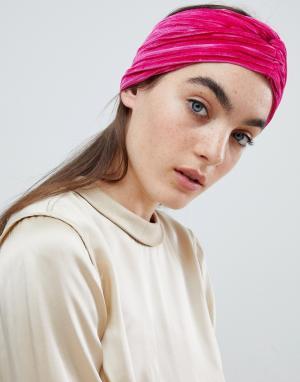 ASOS Розовая бархатная широкая повязка-тюрбан DESIGN. Цвет: розовый