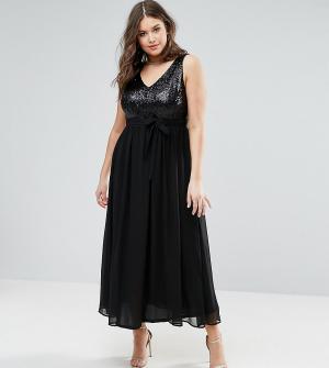 Praslin Платье макси с пайетками на лифе. Цвет: черный