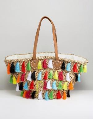River Island Пляжная сумка с бахромой. Цвет: мульти