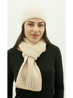 Шапка с шарфом DARBOURSTORE. Цвет: бежевый