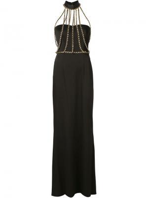 Длинное платье с цепочной отделкой Moschino. Цвет: чёрный