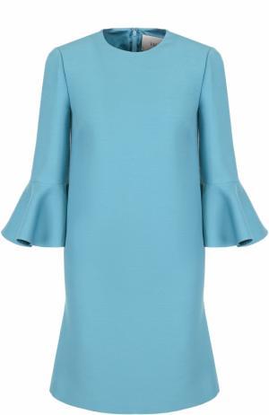 Платье-миди с расклешенными рукавами и круглым вырезом Valentino. Цвет: голубой