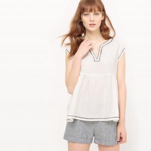 Блузка с баской и короткими рукавами SUD EXPRESS. Цвет: экрю
