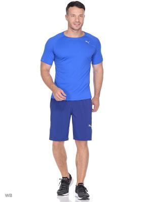 Футболка Core-Run S Tee PUMA. Цвет: голубой