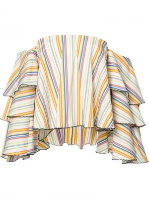 Полосатая блузка с открытыми плечами Caroline Constas. Цвет: многоцветный