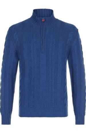 Кашемировый свитер фактурной вязки с воротником на молнии Kiton. Цвет: голубой