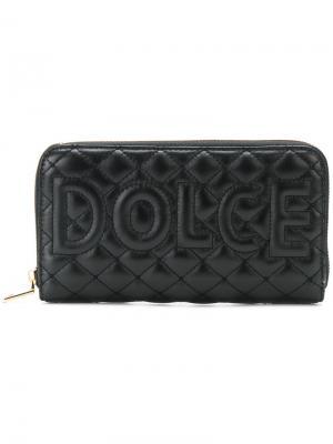 Стеганый кошелек с логотипом Dolce & Gabbana. Цвет: чёрный