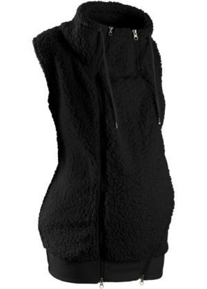 Флисовая жилетка для беременных с карманом малыша (черный) bonprix. Цвет: черный