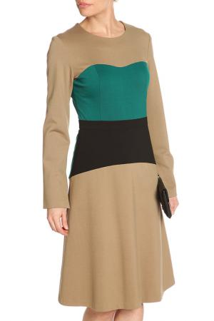 Платье миди NATALIA PICARIELLO. Цвет: бежевый