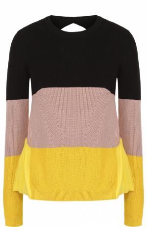 Пуловер в контрастную полоску с шелковой спинкой No. 21. Цвет: разноцветный