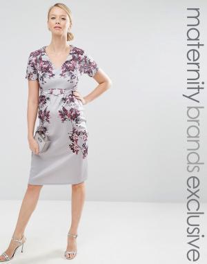 Hope and Ivy Maternity Облегающее платье миди для беременных с зеркальным цветочным принтом H. Цвет: серый