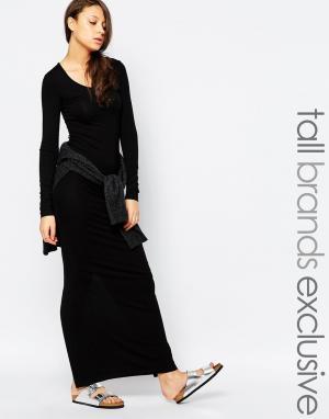 Taller Than Your Average Платье макси с разрезом сзади и длинными рукавами TTYA. Цвет: черный