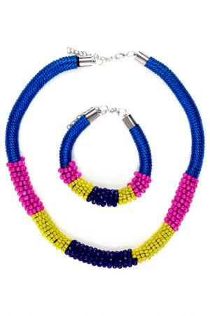 Ожерелье и браслет Nothing but Love. Цвет: синий, ярко-фиолетовый