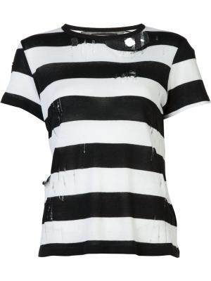 Полосатая футболка с рваными деталями Amiri. Цвет: чёрный