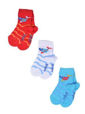 Носки Детские,комплект 3шт Malerba. Цвет: голубой, белый, красный