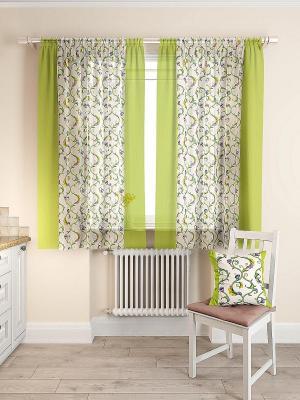 Комплект  штор Кулидж ТОМДОМ. Цвет: зеленый, сиреневый, фиолетовый, белый