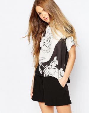 Talulah Тканая футболка с цветочным принтом. Цвет: черный