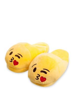 Тапочки Смайлик Поцелуй Lovely Joy. Цвет: желтый
