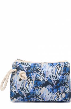 Клатч из текстиля с принтом Bonfanti. Цвет: синий