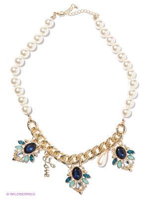 Колье Milana Style. Цвет: темно-синий, бирюзовый, золотистый