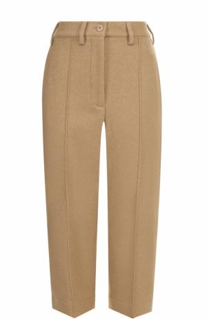 Укороченные шерстяные брюки Mm6. Цвет: бежевый