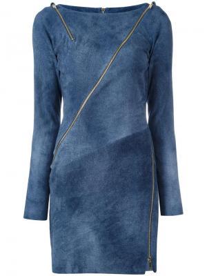 Платье-кокон с молниями Jitrois. Цвет: синий