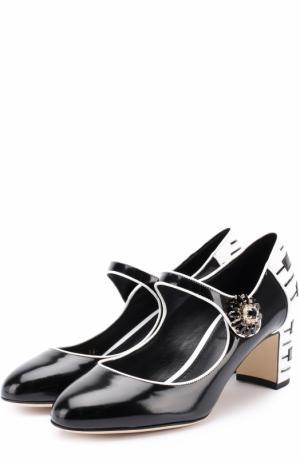 Кожаные туфли Vally с декоративной отделкой Dolce & Gabbana. Цвет: черный