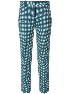 Классические брюки в клетку Carven. Цвет: зелёный