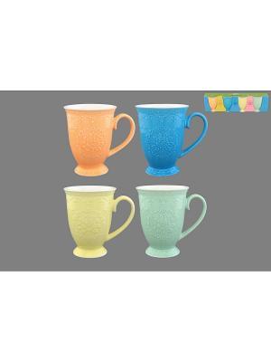 Набор кружек 4 предмета Кружево Elan Gallery. Цвет: оранжевый, голубой, желтый, салатовый
