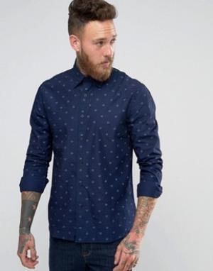 Edwin Рубашка с принтом. Цвет: темно-синий