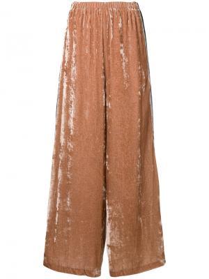 Бархатные брюки-палаццо Aula. Цвет: розовый и фиолетовый