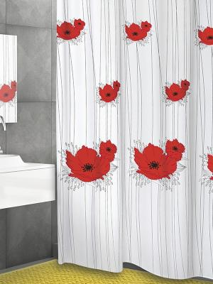 Штора д/ванн 180х200 Papavero (шт.) Bacchetta. Цвет: красный, белый