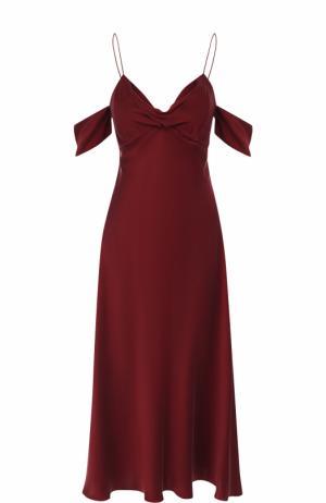 Приталенное шелковое платье-миди на тонких бретельках Zimmermann. Цвет: бордовый