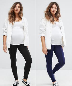 New Look Maternity 2 пары леггинсов для беременных. Цвет: темно-синий