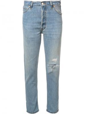 Укороченные джинсы Non-Destruction Re/Done. Цвет: синий