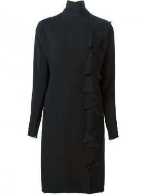 Креповое платье с отделкой рюшами Guy Laroche Vintage. Цвет: чёрный