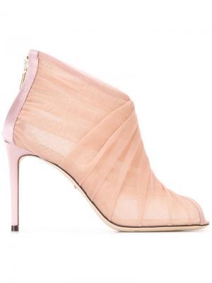 Ботильоны с тюлевой отделкой Dolce & Gabbana. Цвет: розовый и фиолетовый