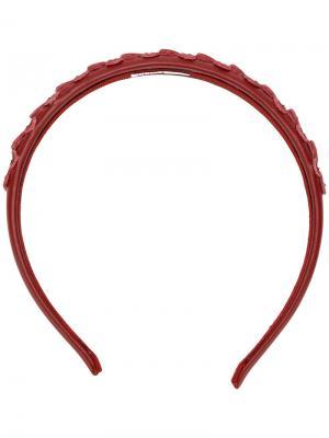 Ободок с цветами отделкой заклепками Red Valentino. Цвет: красный