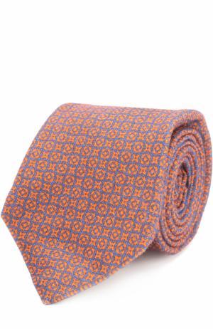Кашемировый галстук с принтом Kiton. Цвет: оранжевый