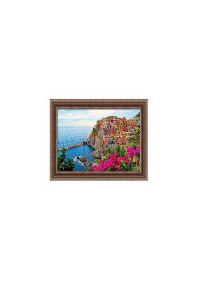 Остров В1767 Картина в раме 40х50 PROFFI. Цвет: голубой, фуксия
