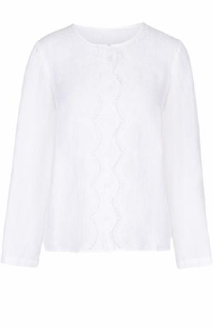 Льняная блуза свободного кроя с кружевной отделкой 120% Lino. Цвет: белый